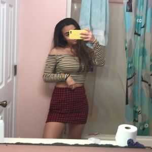 Red checkerboard skirt